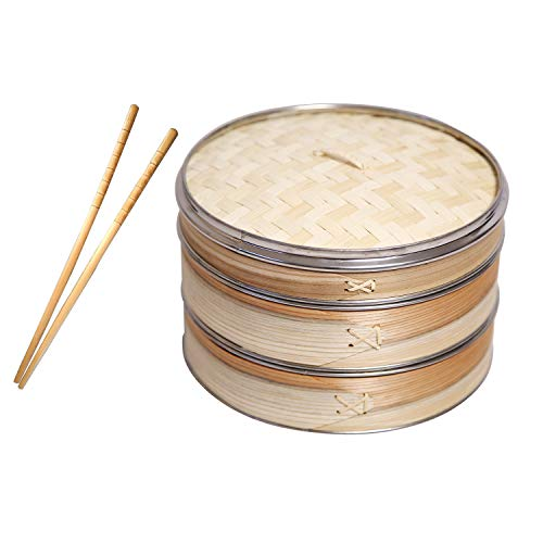 41c2wfW4m0L - Livzing Bamboo Steamer Set With Lid- Brown