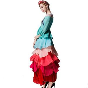 Zhongsufei-WD Women's Cocktail Dresses Spring And Summer Bird Embroidery Gradient Long Sleeve Bohemian Cake Skirt Dress Evening Swing Party Dress (Color : Photo Colo 1, Size : L) 41c3hOGz6lL