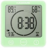 KADAMS Digital Bathroom Shower Kitchen Wall Clock Timer with Alarm, Waterproof for Water Spray, Touch Screen Timer, Temperature Humidity Display with Suction Cup Hanging Hole - Green