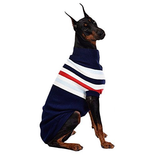 ASOCEA Dog Stripes Classic Sweater Winter Warmth Pet Clothes Apparel for Small Medium Large Dogs 1