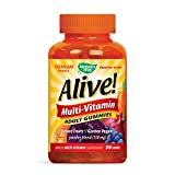 Nature's Way Alive! Adult Premium Gummy Multivitamin, Fruit and Veggie Blend (150mg per serving), Full B Vitamin Complex, Gluten Free, Made with Pectin, 90 Gummies