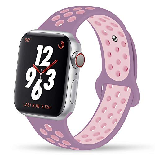 YC YANCH Greatou Compatible for Apple Watch Band 42mm,Soft Silicone Sport Band Replacement Wrist Strap Compatible for iWatch Apple Watch Series 3/2/1,Nike+,Sport,Edition,M/L,Violetdust Plumfog