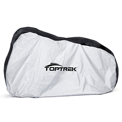 TOPTREK Bike Cover Waterproof Outdoor Storage Bicycle Cover for Mountain Bike Road Bike Dirt Rain Snow Bike Protection Large XL Size Heavy Duty 210D Oxford Fabric (Black&Silver)