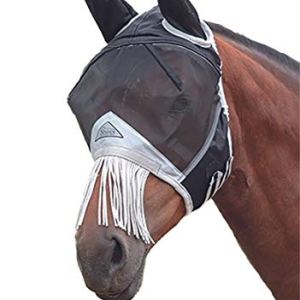 Shires Fine Mesh Fly Mask with Fringe Ears Full Black