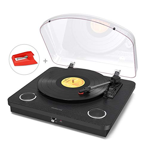 Vinly Record Player, dodocoool Wireless Turntable 3-Speed with Built in 2 Stereo Speakers, Vinyl to MP3 Converting/ RCA Output/ AUX/ USB/ SD Input - Natural Wood