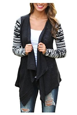 AuntTaylor Womens Cardigans Solid High Low Long Sleeve Boho Open Front  Blouses Cardigans 78bf3295c6af