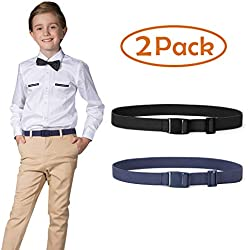 "Kids Nickel Free Adjustable Elastic Belts for Pants Children Stretch Belts for Boys and Girls by JASGOOD (Suit for waist size below 26"", 07-Black+Blue)"