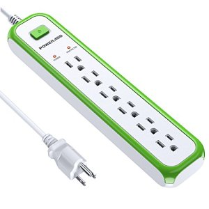 Poweradd 6-Outlet Power Strip Surge Protector 900 Joules with 5-Foot Power Cord – Green+White