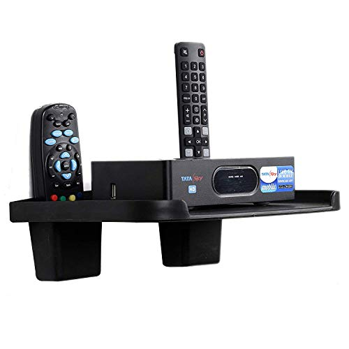 Digway Set Top Box Stand with Double Remote Holder(Black)- Pack of 1 1