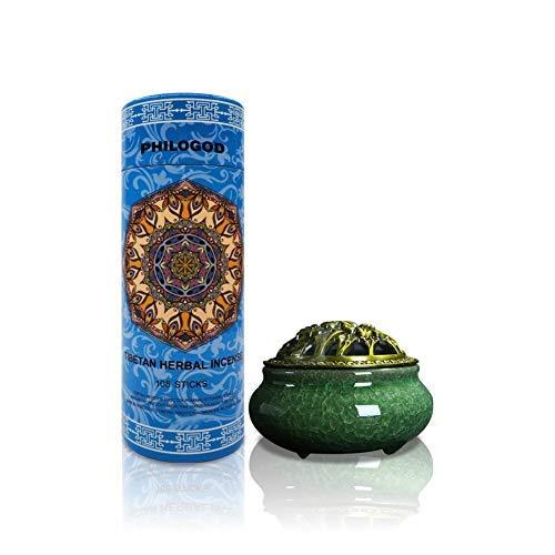 PHILOGOD Aromatherapy Incense for Pressure Relief, and Zen Meditation, Incense Burner Holder Included, Pure, Herbal Tibetan Incense Sticks for Homeopathy, with an Elegant Ceramic Incense Burner