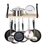 Soduku Pot Pan Rack with Solid Wood Shelf, Wall Mounted Multifunctional Kitchen Hanging Organizer with 8 Hooks for Pots Pans Lids Utensils Cookware Natural