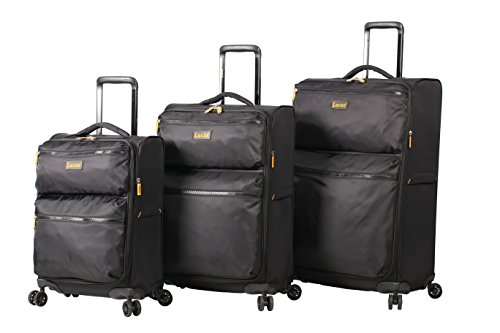 Lucas Ultra Lightweight 3 Piece Expandable Suitcase Set With Spinner Wheels (One Size, Black)