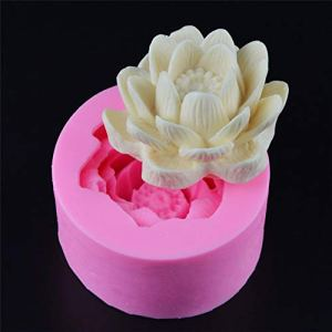 3D Lotus Flower Silicone Cake Baking Molds, Soap Making Mould,Resin Polymer Fimo Clay Candle Moulds, Fondant Cake Decorating Tool,Chocolate Pastry Dessert Bakeware Pan,Kitchen Baking Supplies (D) 41cR8ZSJmGL