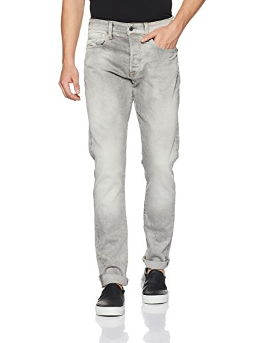 41cRaYlFGDL Tapered-fit jean in grey wash featuring whiskering and fading to the knees Five-pocket styling Zip fly with button