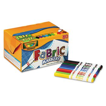 Crayola 588215 Fabric Marker Classpack, TEN Assorted Colors, 80 markers Set ,10 different colors