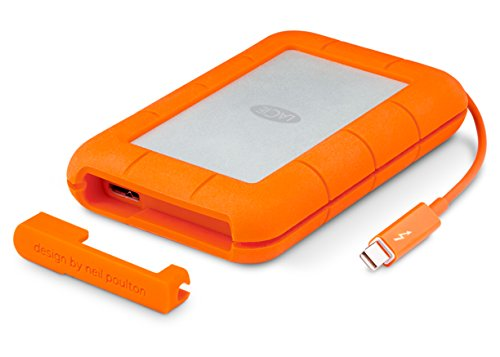 LaCie Rugged Thunderbolt USB 3.0 1TB External Hard Drive Portable HDD - Drop Shock Dust Water Resistant Shuttle Drive, for Mac and PC Computer Desktop Workstation Laptop, 1 Mo Adobe CC (STEV1000400)
