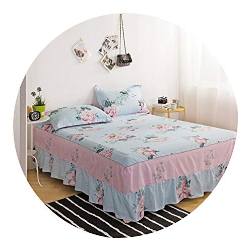 Home Textile 100% Cotton Bed Skirt Ruffled Bed Sheet Set Twin Queen King Size Bed Cover Bed Sheet Reactive Printing Bedspread 3pcs,chunnuanhuakai,120cm200cm