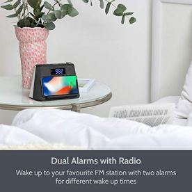 Alarm-Clock-Bedside-Non-Ticking-LCD-Alarm-Clock-with-USB-Charger-Wireless-QI-Charging-Bluetooth-Speaker-FM-Radio-RGB-Mood-LED-Night-Light-Lamp-Dimmable-Display-and-White-Noise-Machine