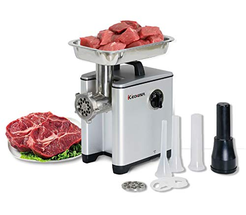 Kitchener-Meat-Grinder-Sausage-Stuffer-Elite-12-HP-240-LBS-PerHr-370-Watts-Electric-Super-Heavy-Duty-Aluminum-Body-Commercial-Grade-Stainless-Steel-Cutlery-Feeding-Tray-Neck