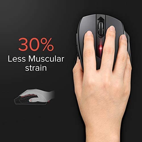 Wireless Mouse for Laptop, 2.4G Mouse Ergonomic Computer Mouse with USB Receiver, Finger Rest, 5 Adjustable DPI Levels, Mobile 2400DPI USB Mouse for Laptop Chromebook Notebook MacBook Computer, Black