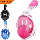Snorkel Mask Kids, Sea view 180 degree Easy Breathe Full Face Snorkeling Mask for Children, Anti-Fog and Anti-Leak - Blue, Pink, Black (2017 Kid Version)