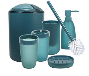 iMucci Blue 6pcs Bathroom Accessories Set – with Trash Can Toothbrush Holder Soap Dispenser Soap and Lotion Set Tumbler Cup