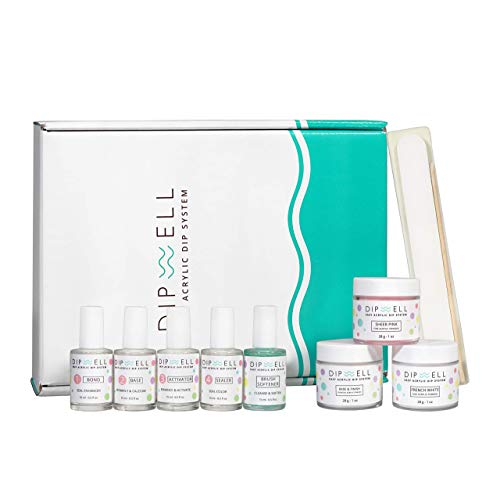 Dipping Nail Starter Kit, Easy Acrylic Powder and Gel Resin Kit For Dip, Starter System For French Set by DipWell Nails (Comes With Bond, Base, Activator, Sealer, Brush Softener + 3 Powder Jars)