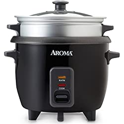 Aroma 3 Cups Uncooked/6 Cups Cooked Rice Cooker, Steamer, Silver (ARC-363-1NGB)