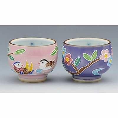 Kiyomizu-kyo yaki ware. Set of 2 Japanese Sake guinomi cups mandarin ducks with wooden box. Porcelain. kymz-GIK376