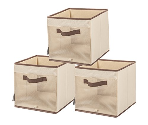 STORAGE MANIAC Folding Storage Cube Bin with Sturdy Handles and See-Through Mesh Side, 3-Pack