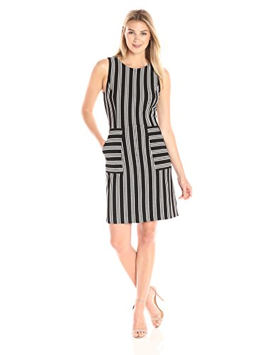 """41csNnvPROL Sleeveless A-line dress featuring vertical stripes, seamed front, and horizontal striped pockets Concealed back zipper Dress length measures 36"""" from top of the shoulder to bottom hem. Model is 5' 9"""" and wearing a size Small."""