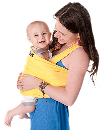 Baby Wrap - Best Baby Carrier by CuddleBug - Available in 9 Colors | 4-in1 Ring Sling: Baby Sling Wrap, Post Postpartum Belt, Nursing Cover, Baby Carrier Wrap | Great Infant Carrier Gift (Yellow)