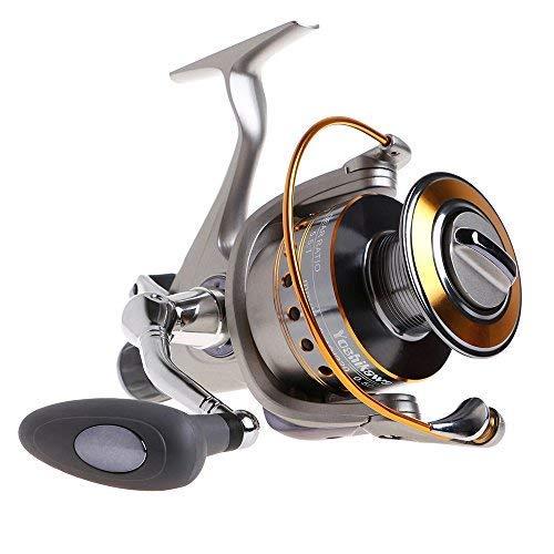 Yoshikawa Baitfeeder Spinning Reel Saltwater Fishing 6000 5.5:1 11 High Power Ball Bearings28Lb Drags Surf Fishing Catfish Carp Reel Left Right Handle Stainless Steel Shaft