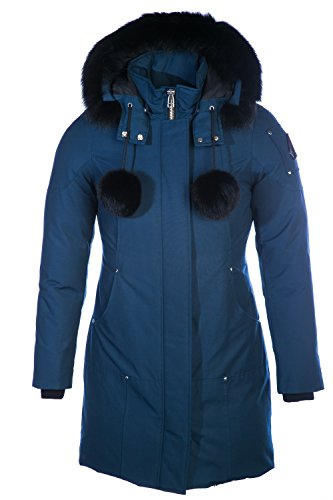 61iLqwD0iVL Cotton nylon water repellent outer shell, 100 percent down proof nylon lining, 80/20 duck down Heavy duty ykk front zipper four front seamed pockets detachable hood with blue fox fur draw cord at hood Pom poms with blue fox fur