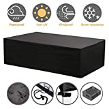 NASUM Patio Furniture Cover Set, 315x160x74cm Outdoor Lounge for Sofa Dining Table and Electrical Equipment with Waterproof and UV-Resistent 420D Oxford Cloth(Black and Silver)