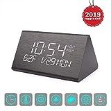 Vandora Digital Alarm Clock, Adjustable Brightness Voice Control Desk Wooden Alarm Clock, Large Display Time Temperature USB/Battery Powered for Home, Office, Kids