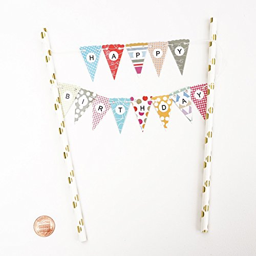 Mini Happy Birthday Cake Bunting Banner Topper Multicolor Pennant Flags With Gold Dots Straw Pole Pie Crust And Pixie Dust