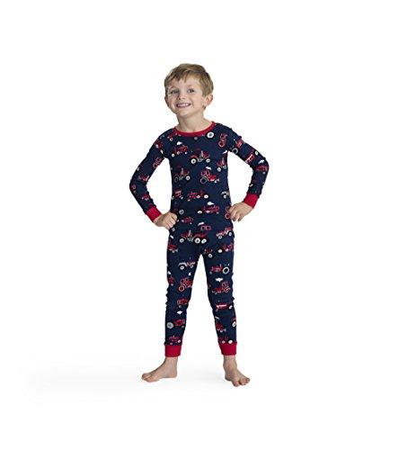 Hatley Boys' Big' Organic Cotton Long Sleeve Printed Pajama Sets, Red Farm Tractor, 8 Years