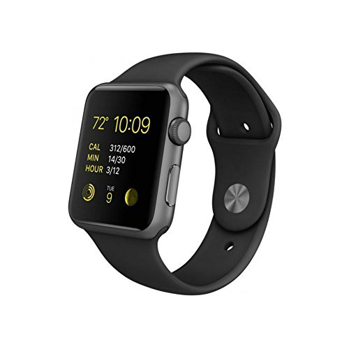 Apple Watch Series 1 Smartwatch 42mm, Space Gray Aluminum Case/ Black Sport Band (Newest Model) (Renewed)