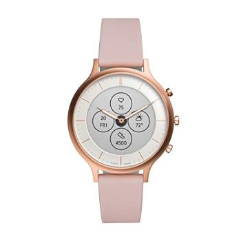 Fossil Women's Charter HR Heart Rate Stainless Steel and Silicone Hybrid Smartwatch, Color: Rose Gold, Blush (FTW7013)