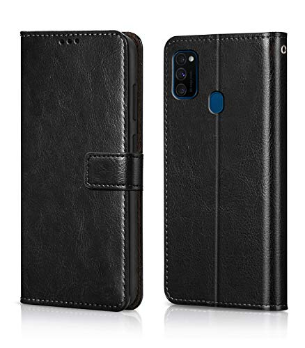 WOW Imagine Galaxy M21 / M30s Flip Case | Leather Finish | Inside TPU with Card Pockets & Stand | Magnetic Closure | Shock Proof Wallet Flip Cover for Samsung Galaxy M30s / M21 - Black 191
