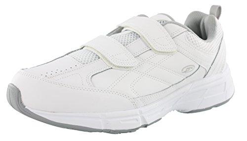 Dr. Scholl's Mens Brisk Light Weight Dual Strap Sneaker, Wide Width (13 Wide, White Grey)