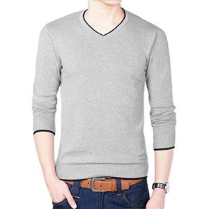 NanGate and New Men's Long-Sleeved Sweater V-Neck Pure Color Men's Business Sweater B0274
