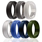 ROQ Silicone Wedding Ring for Men, 7 Pack Silicone Rubber Band Step Edge - Black, Grey, Silver, Light Grey, Blue, Dark Blue, Olive Green - Size 12