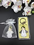 12 Pcs New White Angel Boy Baptism Keychain Party Favors for Baby Boys/Bautizo Recuerdos/Gift for Guest/Christening Favors With Organza Bags
