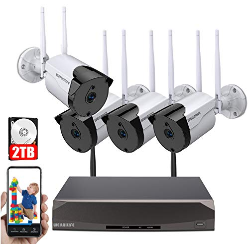 [2019 Signal Enhanced Version] Security Camera System Wireless, 8 Channel Surveillance DVR Recorder and 4Pcs 1080P Home Outdoor Motion Activated IP Bullet Camera with Night Vision, 2TB Hard Drive