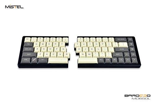 Mistel MD650L Ergonomic Split Mechanical Keyboard with Cherry ML Switch (Milk/Gray Two Tone Dye-Sub ABS ALPS Low Profile Keycaps, CNC Aluminum Black Case, ANSI/US, Programable Macro/Remapping)