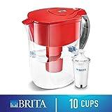 Brita Grand Water Filter Pitcher, Red,  10 Cup