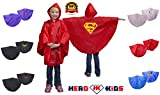 Girls or Boys Superhero Red & Gold Super-man Super-Girl Hooded Polyester Rain Poncho with Matching Carrying Pouch