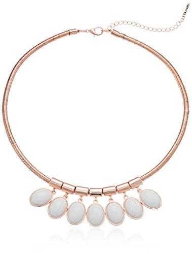 41dVN2tA0RL snake chain collar with multi oval cabachon stone drops rose gold tone finish with white stone